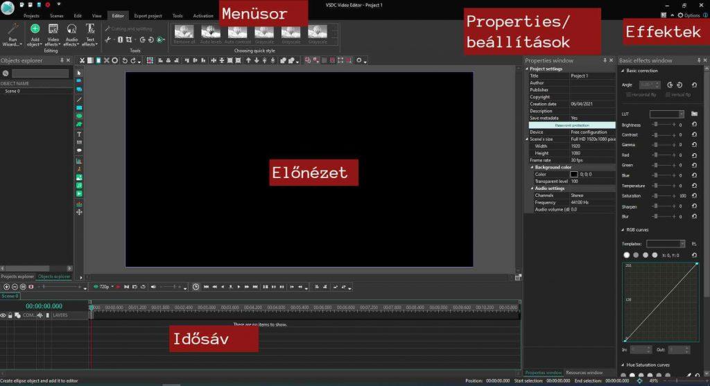 vsdc video editor használata
